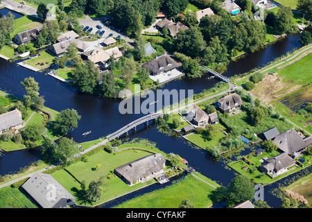 The Netherlands, Giethoorn, Village with many canals and lakes due to digging peat. Most transport is by waterways. - Stock Photo