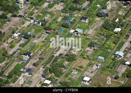 The Netherlands, Kampen, Allotment gardens Aerial. - Stock Photo