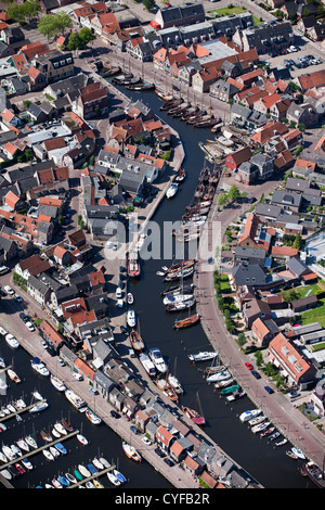 The Netherlands,  Bunschoten-Spakenburg, View on center of village and harbour. Aerial. - Stock Photo