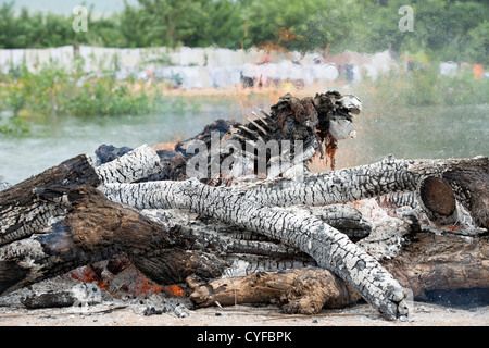 Cremating a human body on a hindu funeral pyre nesxt to a river. Andhra pradesh, India - Stock Photo