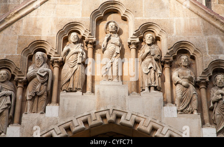 BUDAPEST - SEPTEMBER 22: Detail of west portal from gothic Church of Jak by Vajdahunyad castle on September 22, - Stock Photo
