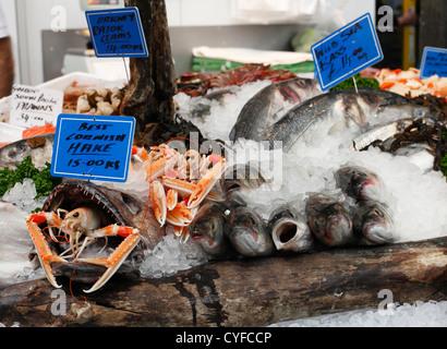 Fish on a stall at Borough Market, London, England, U.K. - Stock Photo