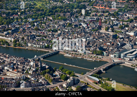 The Netherlands, Maastricht, Aerial of city center and river Maas or Meuse. - Stock Photo