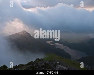 Sunrise on Snowdon. Views to Crib Goch and Llyn Llydaw