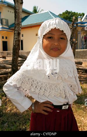 Muslim primary school girl in Ara Sulawesi Indonesia. - Stock Photo