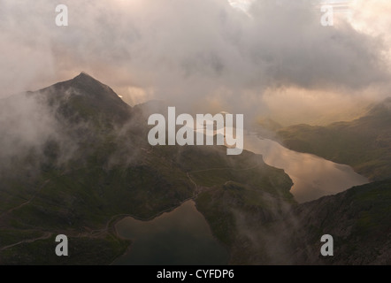 Sunrise on Snowdon. Views to Crib Goch and the lakes of Glaslyn and Llyn Llydaw