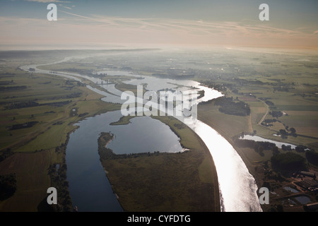 The Netherlands, Maurik, Yacht-basin, Flood-control dam in Lek river, also called: Neder-Rijn. Aerial - Stock Photo