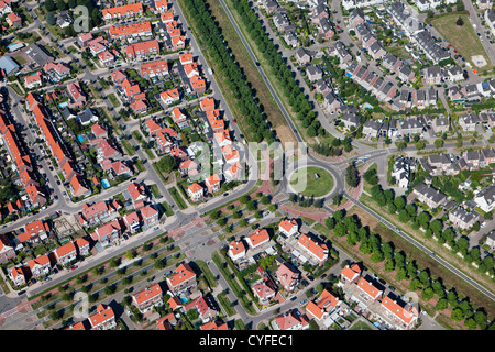 The Netherlands, Helmond, Residential district called Brandevoort. Aerial. - Stock Photo