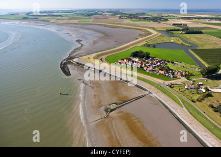 The Netherlands, Bath, View on village and the river Westerschelde. Aerial. - Stock Photo