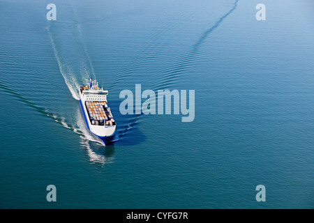 The Netherlands, Westkapelle. Westerschelde river. Cargo roll-on, roll-off ship. Aerial. - Stock Photo