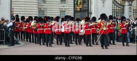 Panorama of Coldstream guards band playing at changing of the guard at Buckingham palace. London. - Stock Photo