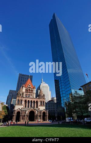 Trinity Church in Copley Square, Boston, Massachusetts, America - Stock Photo