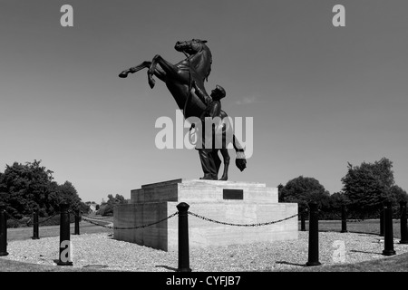 Black and White image,The Newmarket Stallion statue by Marcia Astor and Allan Sly, at Newmarket racecourse, Suffolk, - Stock Photo