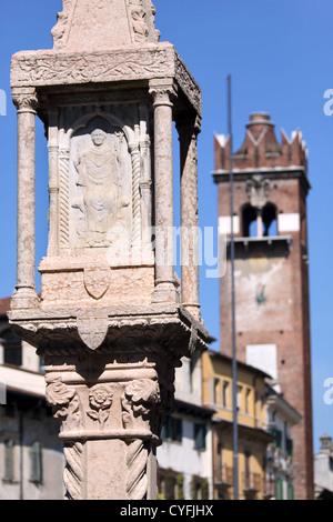 Old market column at the Piazza delle Erbe in Verona, Veneto, Italy - Stock Photo