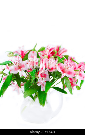 Pink wild orchids in glass vase - Stock Photo