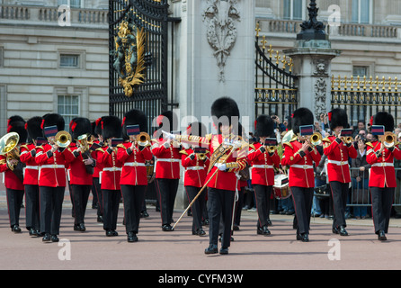 Coldstream guards band playing at changing of the guard at Buckingham palace. London. - Stock Photo