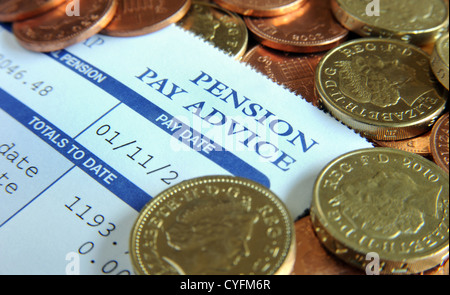 Superb COMPANY PENSION PAY ADVICE SLIP WITH NEW ONE POUND COINS RE .
