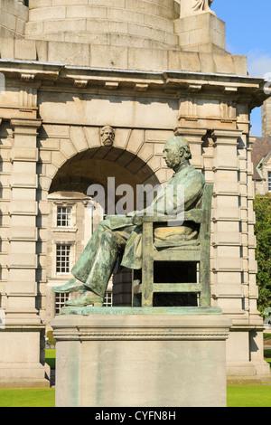 Statue of Irish historian William Edward Hartpole Lecky in Trinity College University of Dublin, Ireland, Eire - Stock Photo