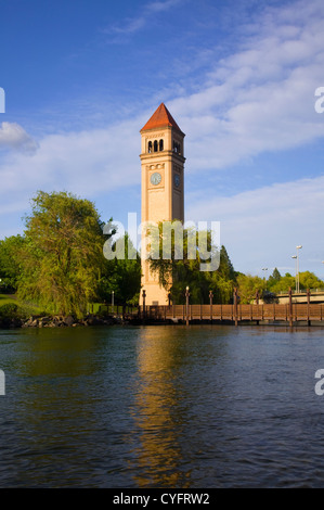 WA05543-00...WASHINGTON - The Clock Tower and pond at Riverfront Park located along the Spokane River in downtown - Stock Photo