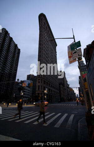 New York USA. November 1st 2012. Looking South on 5th Avenue and 23rd Street in the Chelsea neighborhood of New - Stock Photo