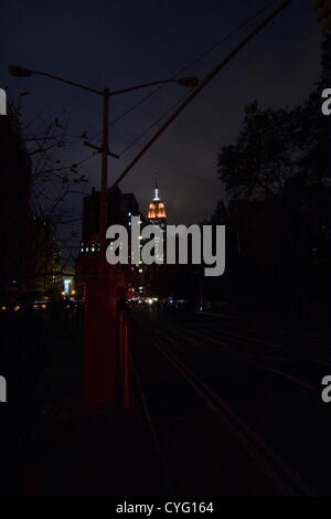 New York USA. November 1st 2012. Looking North on Broadway in the Chelsea neighborhood of New York City at dusk. - Stock Photo