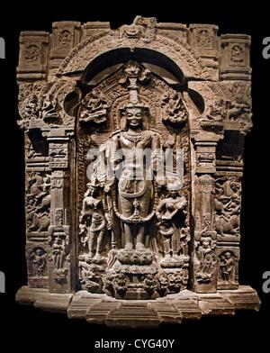 Vishnu with His Consorts, Lakshmi and Sarasvati Pala 11th–12th century India Bihar or West Bengal or Bangladesh - Stock Photo