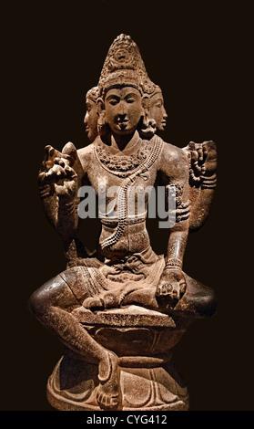 Shiva as Mahesha Chola period 10th century India Tamil Nadu Granite 148 cm - Stock Photo