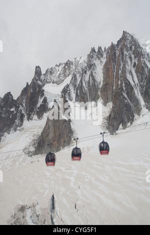 Courmayeur - Mont Blanc / Geant Glacier, Mont Blanc du Tacul & gondolas of the Panoramic Mont-Blanc cableway. - Stock Photo