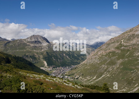 FRANCE: view of Val d'Isere from the Col de L'Iseran - Stock Photo