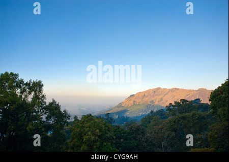 Horizontal aerial view of the stunning landscape high up in the Munnar Hills, Kerala. - Stock Photo