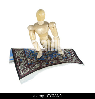 Turning on an intricate flying carpet - path included - Stock Photo