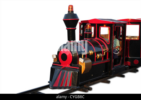 Mini Retro Train on park isolated - Stock Photo
