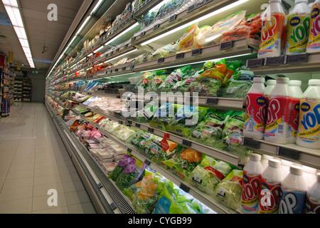 fridge in a supermarket - Stock Photo