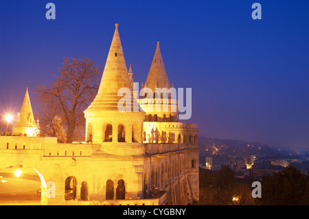 Fisherman Bastion at night in Budapest Hungary - Stock Photo