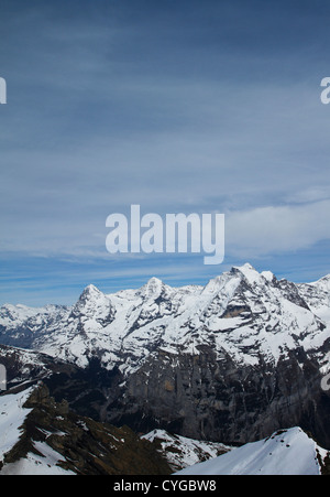 View across the Lauterbrunnen Valley of the Eiger, Monch and Jungfrau mountains from Piz Gloria (atop the Schilthorn) - Stock Photo