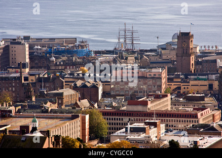 Landscape view of Dundee city with the RSS Discovery ship close to the River Tay,UK - Stock Photo