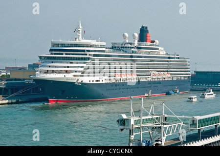The Cunard cruise liner Queen Elizabeth berthed at the Cruise Terminal, Port of Venice, Italy - Stock Photo