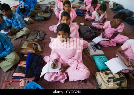 Classroom scene in a rural school - Stock Photo