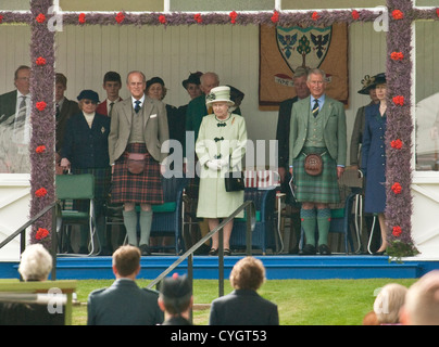 Queen, Duke of Edinburgh and Prince Charles at the Braemar Gathering, Aberdeenshire, Scotland - Stock Photo