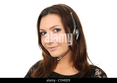 Friendly callcenter agent smiling - Stock Photo