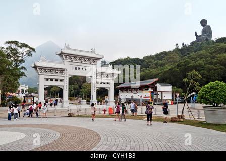 Gateway and approach to Tian Tan Buddha, Lantau Island, Hong Kong - Stock Photo