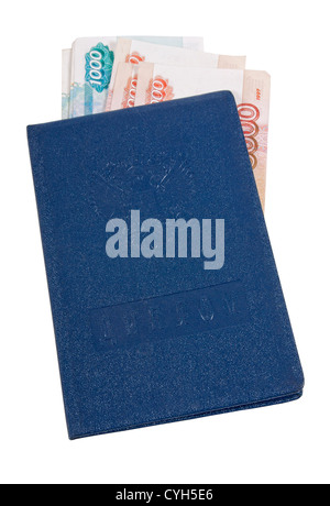 Student Certificate and money on white background - Stock Photo