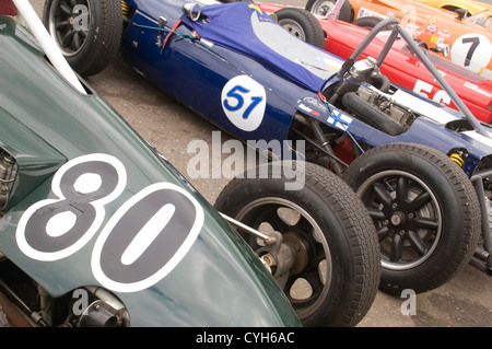 Classic Single Seater Racing Cars Lined Up In The Paddock Prior To