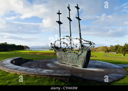 The National Famine Memorial, by artist John Behan, at Murrisk, on the banks of Clew Bay, County Mayo, Ireland - Stock Photo