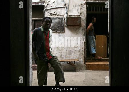 A street in Lamu Town, Lamu Island, Kenya, East Africa. - Stock Photo