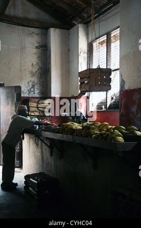 Indoor market, Lamu Town, Lamu Island, Kenya, East Africa. - Stock Photo