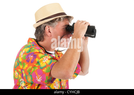 Man as tourist with spyglasses isolated over white background - Stock Photo