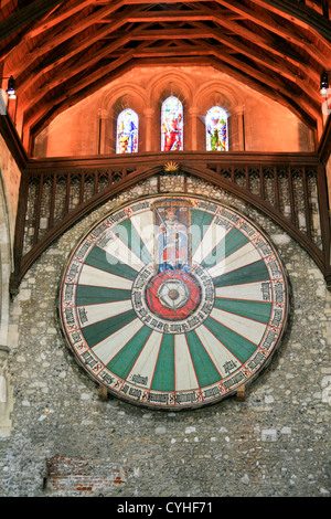 King Arthur's Round Table The Great Hall Winchester Castle Hampshire England UK - Stock Photo