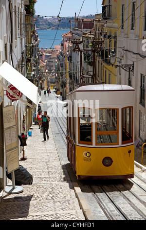 Tram on  Elevador da Bica, Rua da Bica, central Lisbon, Portugal - Stock Photo