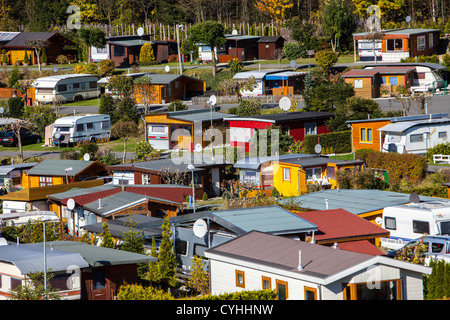 All year open trailer park in Witerberg, Sauerland, a north western region in Germany, Europe. - Stock Photo